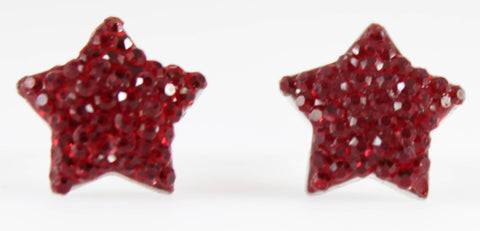 Bubble Star Earrings (Studs) - red