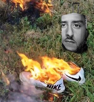 Colin Kaepernick watching Nike shoes burn