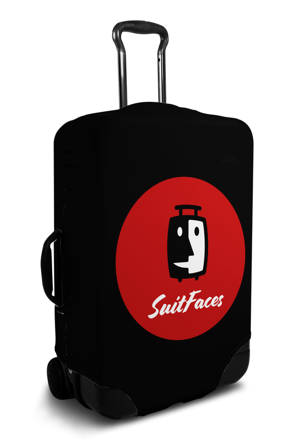 Custom black luggage cover with personalized brand logo