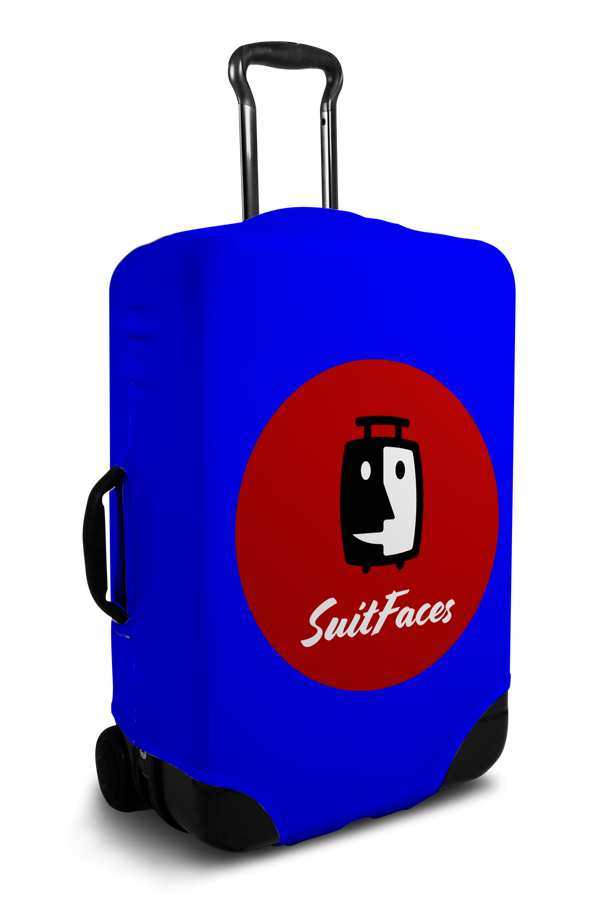 Custom blue luggage cover with personalized brand logo