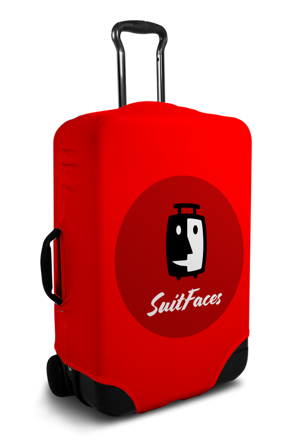 Custom red luggage cover with personalized brand logo