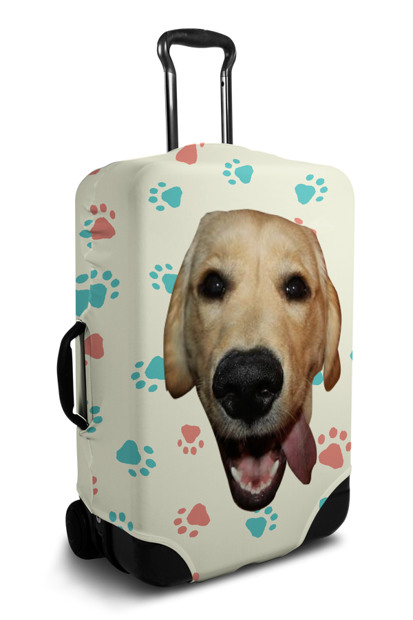 Custom olive luggage cover with personalized dog face