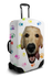 Custom white luggage cover with personalized dog face