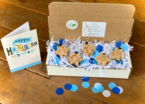 Image of Hanukkah Star of David Birdseed Ornament Gift Box (A) | 2 Hanging Bird Feeders + Personalized Card