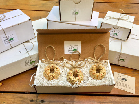 Image of Birthday Birdseed Wreath Ornament Gift Box (A) | 3 Hanging Bird Feeders + Personalized Card