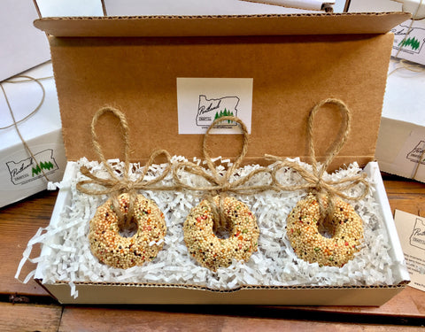 Image of Birthday Birdseed Wreath Ornament Gift Box (C) | 3 Hanging Bird Feeders + Personalized Card