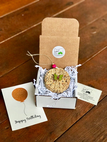 Birthday Birdseed Ornament Gift Box (D) | 1 Hanging Bird Feeder + Personalized Card
