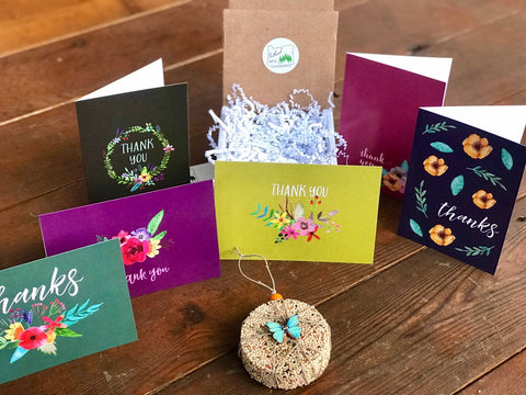 Image of Thank You Birdseed Ornament Gift Box (B) | 1 Hanging Bird Feeder + Personalized Card