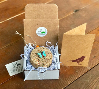 Birdseed Ornament Gift Box | 1 Hanging Bird Feeder + Personalized Card
