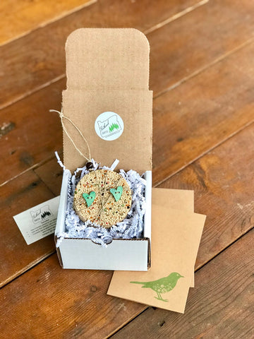 Valentines Day Heart Birdseed Ornament Gift Box (B) | 1 Hanging Bird Feeder + Personalized Card