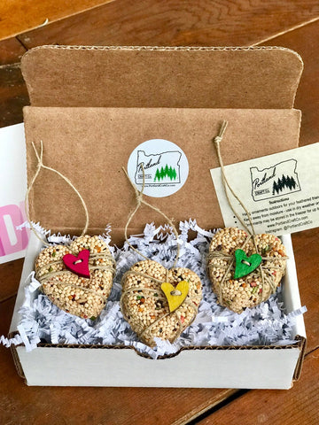 Image of Birthday Birdseed Wreath Ornament Gift Box | 3 Hanging Bird Feeders + Personalized Card