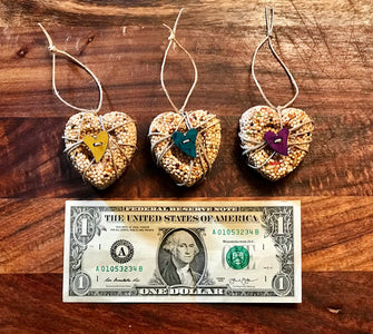 Birthday Birdseed Heart Ornament Gift Box | 3 Hanging Bird Feeders + Personalized Card