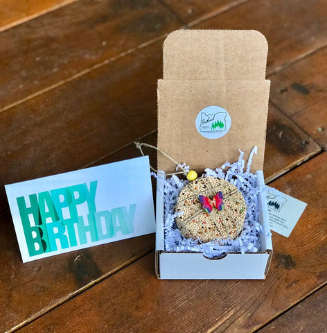 Image of Birthday Birdseed Ornament Gift Box (C) | 1 Hanging Bird Feeders + Personalized Card