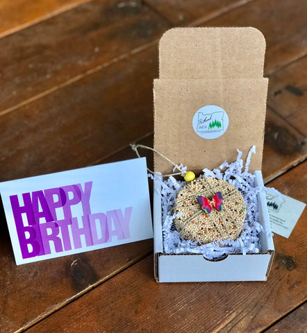 Image of Birthday Birdseed Ornament Gift Box (A2) | 1 Hanging Bird Feeders + Personalized Card*