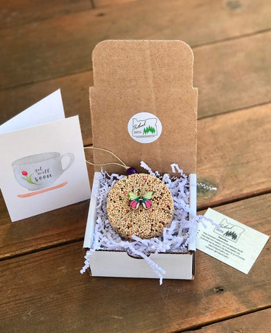 Image of Get Well Soon Birdseed Ornament Gift Box (A) | 1 Hanging Bird Feeder + Personalized Card