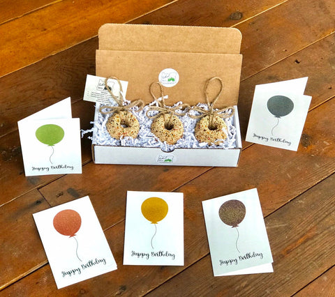 Image of Birthday Birdseed Wreath Ornament Gift Box (D) | 3 Hanging Bird Feeders + Personalized Card