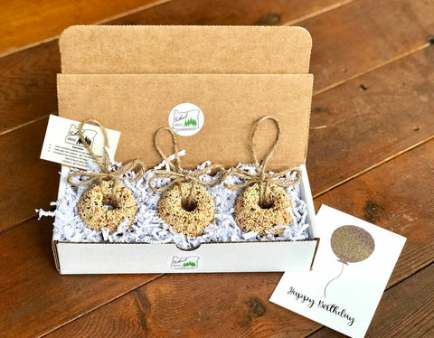 Birthday Birdseed Wreath Ornament Gift Box (D) | 3 Hanging Bird Feeders + Personalized Card