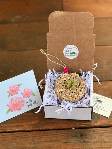 Sympathy Birdseed Ornament Gift Box (B) | 1 Hanging Bird Feeder + Personalized Card