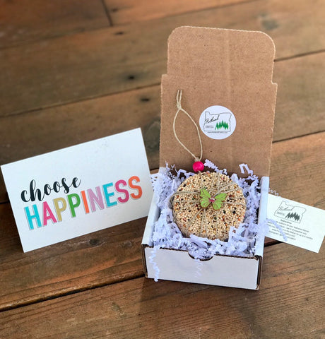 Happiness Theme Birdseed Ornament Gift Box | 1 Hanging Bird Feeder + Personalized Card