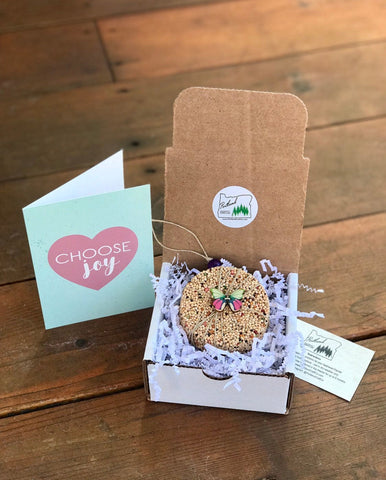 Choose Joy Theme Birdseed Ornament Gift Box | 1 Hanging Bird Feeder + Personalized Card