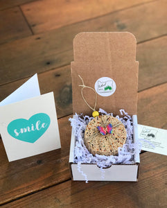 Inspirational Theme Birdseed Ornament Gift Box | 1 Hanging Bird Feeders + Personalized Card*