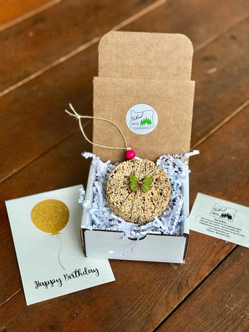 Image of Butterfly Theme Birdseed Ornament Gift Box (B) | 1 Hanging Bird Feeder + Personalized Card