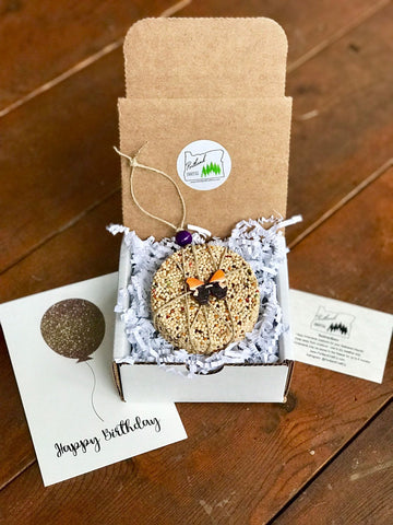 Image of Birthday Birdseed Ornament Gift Box (A) | 1 Hanging Bird Feeders + Personalized Card