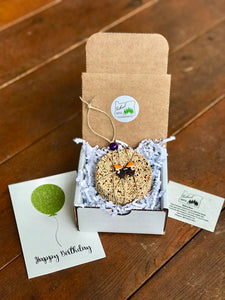 Birthday Birdseed Ornament Gift Box (C2) | 1 Hanging Bird Feeder + Personalized Card