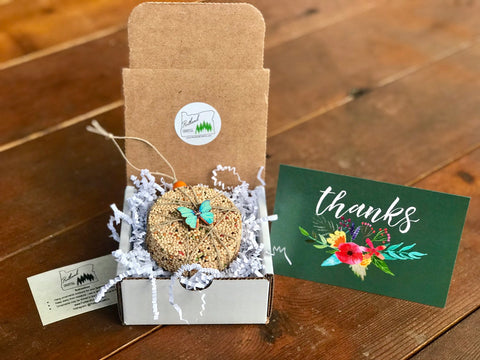 Thank You Birdseed Ornament Gift Box (D) | 1 Hanging Bird Feeder + Personalized Card
