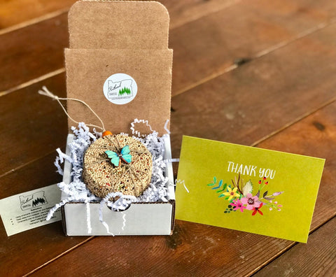 Thank You Birdseed Ornament Gift Box (E) | 1 Hanging Bird Feeder + Personalized Card
