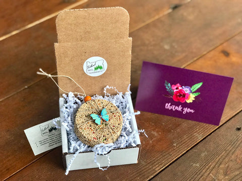 Image of Thank You Birdseed Ornament Gift Box (F) | 1 Hanging Bird Feeder + Personalized Card