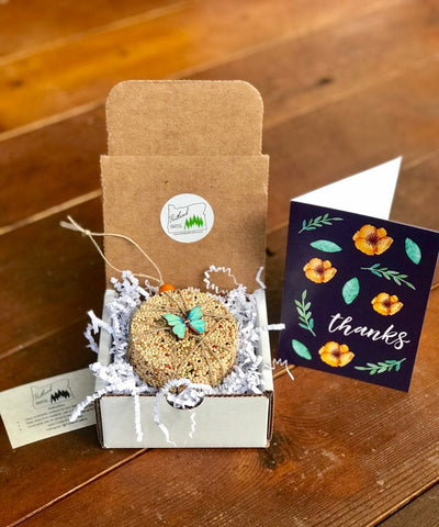 Thank You Birdseed Ornament Gift Box (B) | 1 Hanging Bird Feeder + Personalized Card