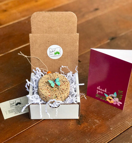 Thank You Birdseed Ornament Gift Box (C) | 1 Hanging Bird Feeder + Personalized Card