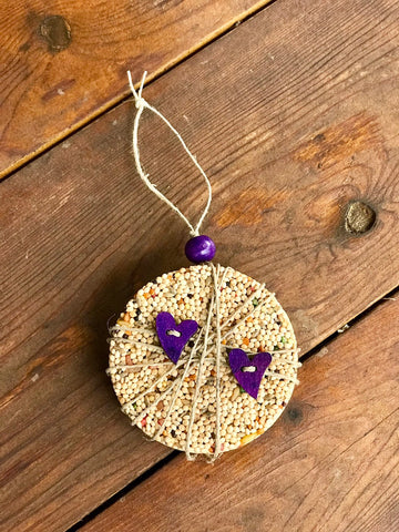 Valentines Day Heart Birdseed Ornament Gift Box (C) | 1 Hanging Bird Feeder + Personalized Card