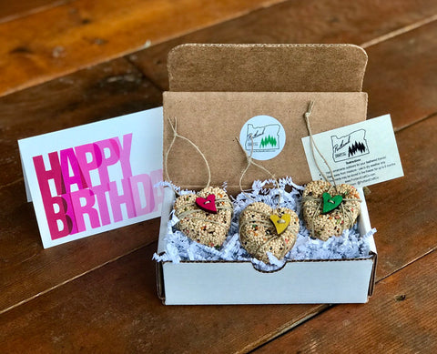 Image of Birthday Birdseed Heart Ornament Gift Box | 3 Hanging Bird Feeders + Personalized Card