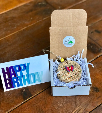 Birthday Birdseed Ornament Gift Box (B2) | 1 Hanging Bird Feeders + Personalized Card
