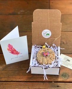Get Well Soon Birdseed Ornament Gift Box (C) | 1 Hanging Bird Feeder + Personalized Card