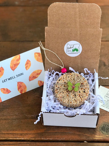 Image of Get Well Soon Birdseed Ornament Gift Box (B) | 1 Hanging Bird Feeder + Personalized Card
