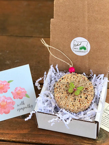 Image of Sympathy Birdseed Ornament Gift Box (B) | 1 Hanging Bird Feeder + Personalized Card
