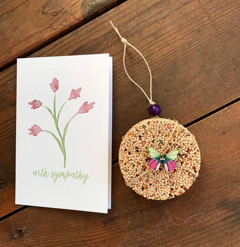 Sympathy Birdseed Ornament Gift Box (A) | 1 Hanging Bird Feeder + Personalized Card