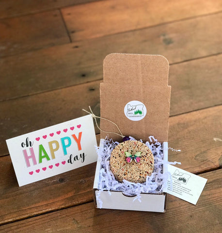 Image of Happiness Theme Birdseed Ornament Gift Box | 1 Hanging Bird Feeder + Personalized Card*