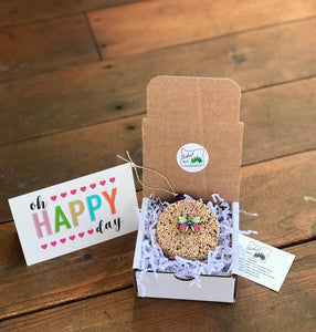 Happiness Theme Birdseed Ornament Gift Box | 1 Hanging Bird Feeder + Personalized Card*