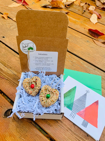 Christmas Birdseed Heart Ornament Gift Box | 2 Hanging Bird Feeders + Personalized Card*