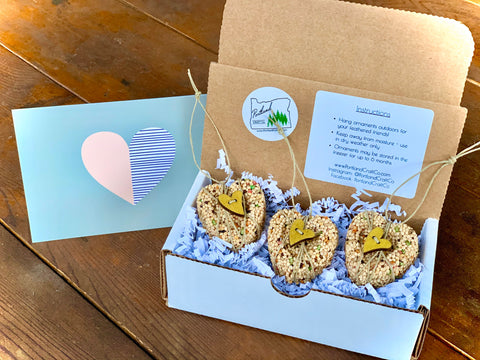 Valentines Day Heart Birdseed Ornament Gift Box | 3 Hanging Bird Feeder + Personalized Card