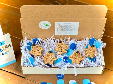 Image of Hanukkah Star of David Birdseed Ornament Gift Box (B) | 2 Hanging Bird Feeders + Personalized Card