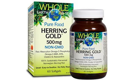 Whole Earth & Sea, Herring Gold 500mg, 60 softgels