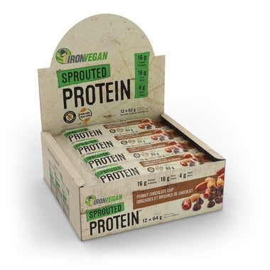 Iron Vegan, Sprouted Vegan Protein bars, Peanut Chocolate Chip, 64 g