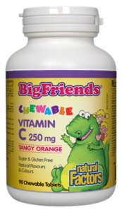 Natural Factors, Big friends, Vitamin C, 250mg, Tangy orange, 90 chewable tablets