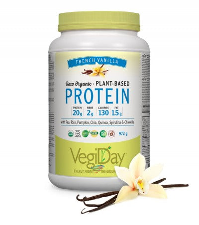VegiDay Proteins, Raw Organic Plant Based Protein, French Vanilla, 741g
