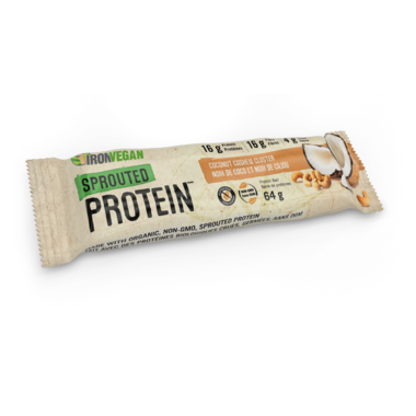 Iron Vegan, Sprouted Protein bars, Coconut Cashew Cluster, 64 g